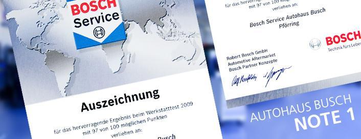 Autohaus Busch Werkstatt Bosch Auszeichnung