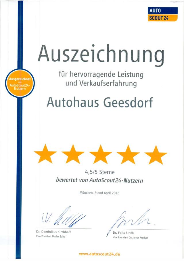 20.06.2020: AutoScout24 Auszeichnung