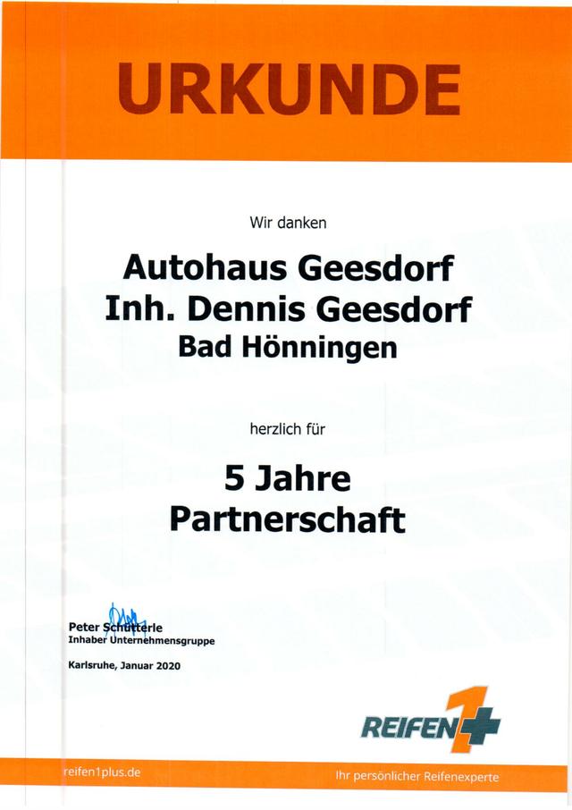 20.06.2020: Reifen1+ Partner 5 Jahre