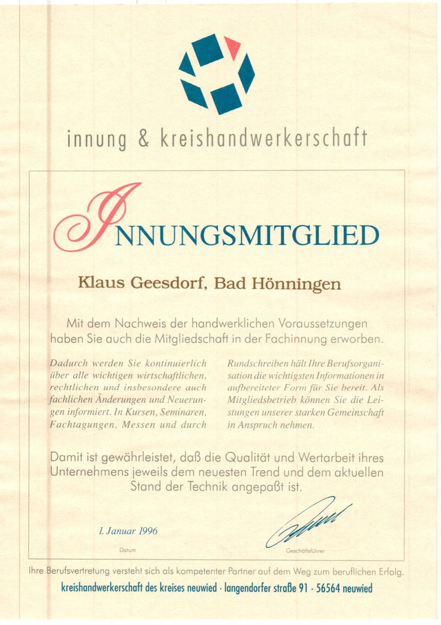 20.06.2020: Mitglied der KFZ-Innung seit 1996