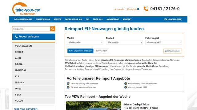 take-your-car - Autrado Website Referenzen