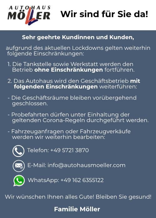 Corona-Info: Einschränkungen bei Autohaus Möller
