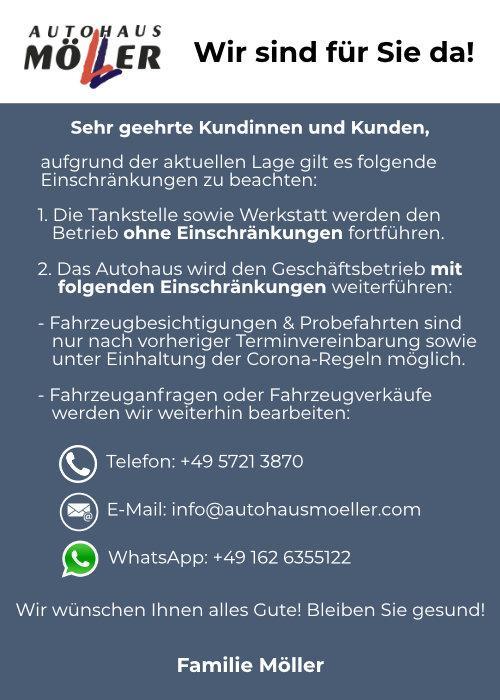 Corona-Info bei Autohaus Möller