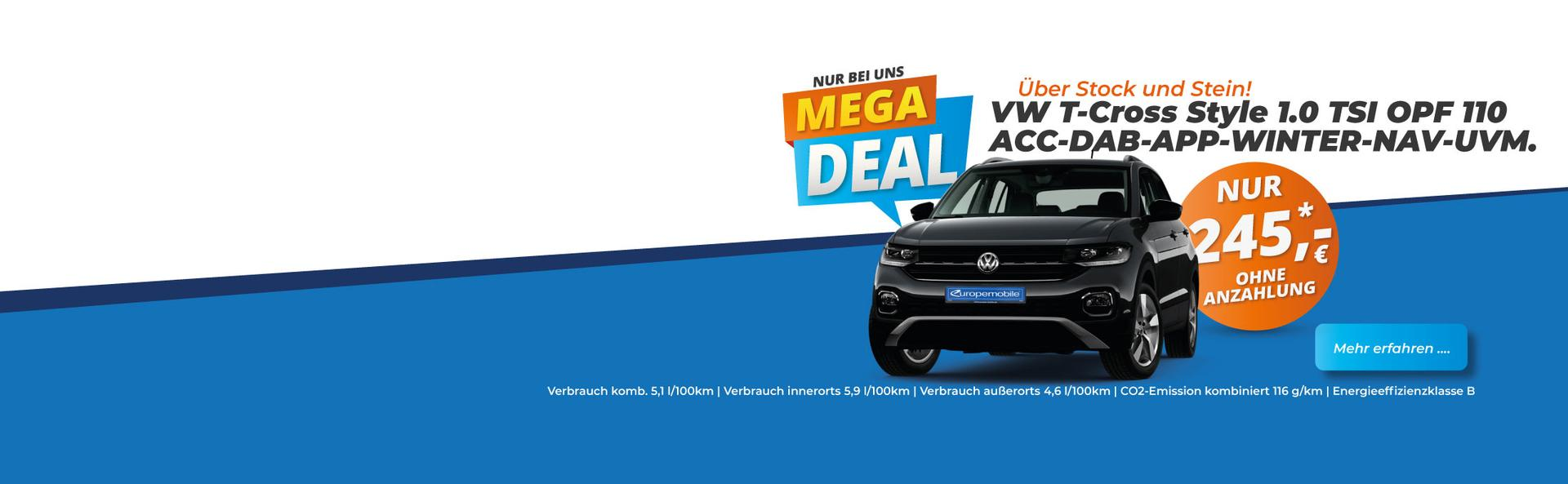EU Neuwagen Leasing Angebot VW T-Cross