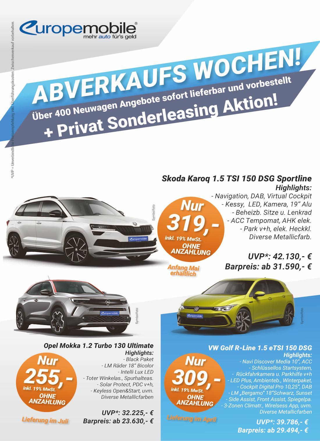 EU Neuwagen Abverkauf und Leasing Aktion