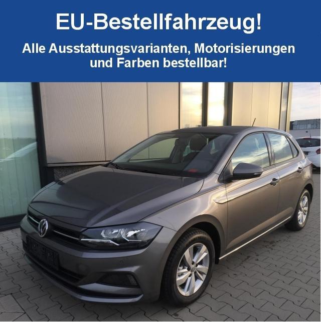 """Volkswagen Polo """"Highline"""" (4) 5-Türer, PS VO/HI, 15""""-LEICHTMETALLRÄDER, Klimaanlage, MITTELARMLEHNE VORNE, Nebelscheinwerfer, Sportsitze Multifunktions-Lederlenkrad, Radio Composition Colour/USB/Bluetooth, variabler Ladeboden, elektr. FH vo+hi, Ambientebeleuchtung"""
