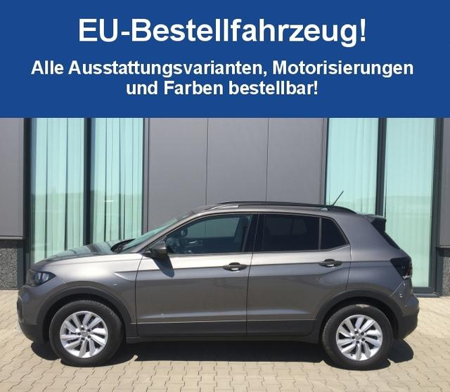 "Volkswagen T-Cross ""Life"" (2) 1.0 TSI 95PS, 16"" Alu, Klima, Multifunktions-Lederlenkrad, DAB+, Radio Composition Color + Bluetooth, Mittelarmlehne vorn, Front Assist, Dachreling"