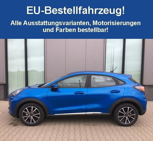 "Bestellfahrzeug, konfigurierbar Ford Puma - ""Titanium X"" (3) 1.5 EcoBlue 120PS inkl. KLIMAAUTOMATIK NAVI/SYNC3/APP-LINK/DAB/USB/BT/SPRACHST. B&O SOUNDSYSTEM AMBIENTE FAHRPROFILAUSW. PS HI TEMPOMAT FAHRSPUR-/FAHRSPURHALTEASS. VERKEHRSSCHILDERKENNUNG INDUKT. LADESTATION AUßENSP. ANKLAPPBAR SUNSET 18""ALU"