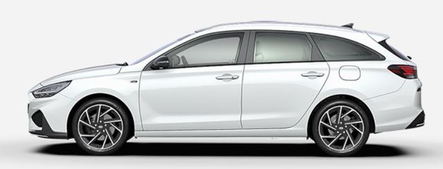 "Vorlauffahrzeug Hyundai i30 Kombi - ""N-Line"" (1) 1.5 T-GDI 48V MILD-HYBRID 160PS, Polar-White, NAVI 10,25"", Bi-LED-Scheinwerfer, 18"" Alu, Klimaautomatik, Parksensoren vo/hi, Rückfahrkamera, Sitzheizung, Lederlenkrad beheizt, Sportliches Design, Alu-Pedalerie, Sportsitze, Dachreling, Tempomat"