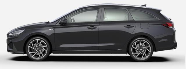 "Vorlauffahrzeug Hyundai i30 Kombi - ""N-Line"" (1) 1.5 T-GDI 48V MILD-HYBRID 160PS, Schwarz-Metallic, NAVI 10,25"", Bi-LED-Scheinwerfer, 18"" Alu, Klimaautomatik, Parksensoren vo/hi, Rückfahrkamera, Sitzheizung, Lederlenkrad beheizt, Sportliches Design, Alu-Pedalerie, Sportsitze, Dachreling, Tempomat"