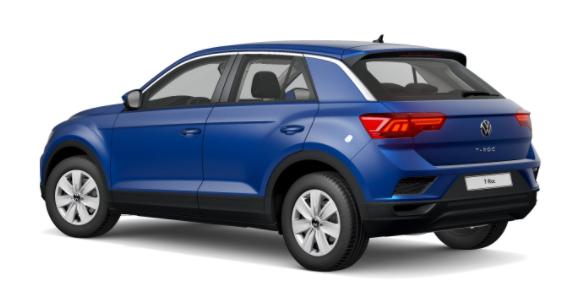 """Volkswagen T-Roc - """"Basis"""" (4) 1.0 TSI 110PS, Ravenna-Blau Metallic, Climatronic, App-Connect Wireless, Winterpaket, Armlehne vorn, Lederlenkrad, Radio Ready2Discover, DAB , Parksensoren vorn/hinten, Front Assist, Lane-Assist, Regensensor, elektr. Fensterheber vo/hi, ZV mit Fernbedienu Vorlauffahrzeug"""