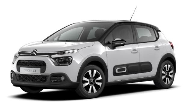"""Vorlauffahrzeug Citroën C3 - """"Shine"""" (2) 110PS AUTOMATIK, Weiß/Dach schwarz, 16""""-Leichtmetallräder, Klimaautomatik, NAVI   Radio 7""""-Touchscreen, RÜCKFAHRKAMERA, Parksensoren VORNE hinten, Totwinkel-Warner, Tempomat, Eco-LED-Scheinwerfer, NSW"""