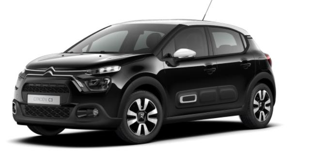 """Vorlauffahrzeug Citroën C3 - """"Shine"""" (2) 110PS AUTOMATIK, Schwarz-Metallic/Dach Weiß, 16""""-Leichtmetallräder, Klimaautomatik, NAVI   Radio 7""""-Touchscreen, Parksensoren hinten, Tempomat, Eco-LED-Scheinwerfer, Nebelscheinwerfer, Außenspiegel elektr. an"""