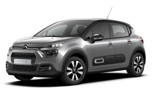 """Vorlauffahrzeug Citroën C3 - """"Shine"""" (2) 110PS AUTOMATIK, Artense-Grau-Metallic/Dach schwarz, 16""""-Leichtmetallräder, Klimaautomatik, NAVI   Radio 7""""-Touchscreen, Parksensoren hinten, Tempomat, Eco-LED-Scheinwerfer, Nebelscheinwerfer, Außenspiegel elektrisch anklappbar"""
