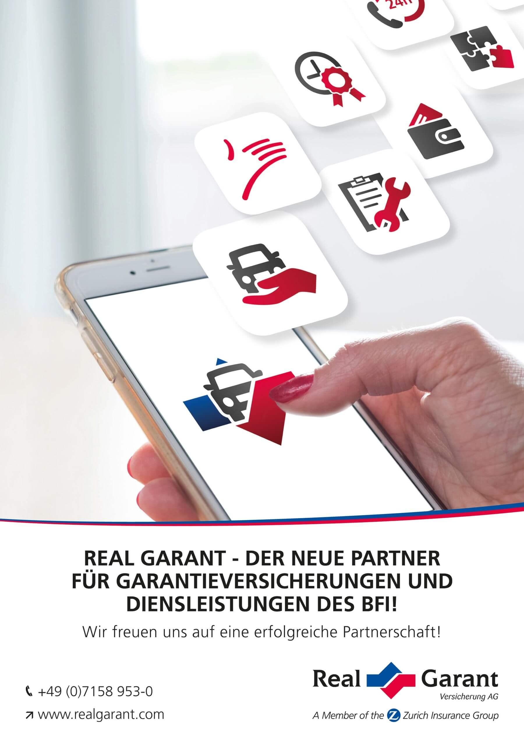 Aussteller -REAL GARANT - DER NEUE PARTNER FÜR GARANTIEVERSICHERUNGEN UND DIENSLEISTUNGEN DES BFI!