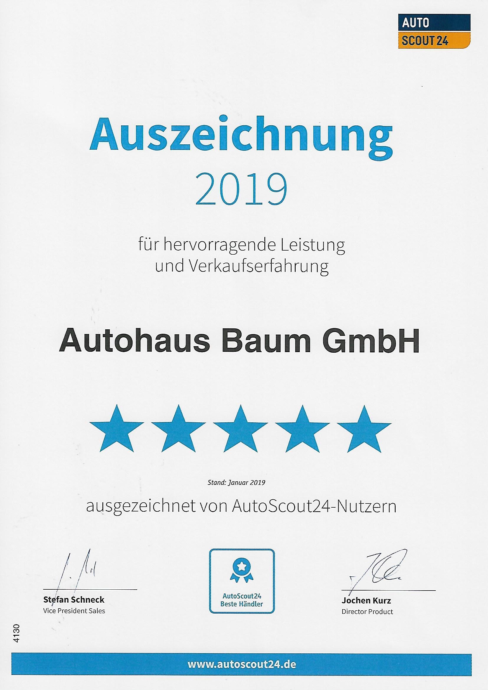 Auszeichnung 2019 für hervorragende Leistung und Verkaufserfahrung