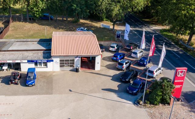 Werkstatt Südansicht Autoscheune Gerlach Luftbild