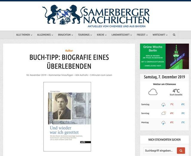 Sammerberger Nachrichten BUCH-TIPP: BIOGRAFIE EINES ÜBERLEBENDEN
