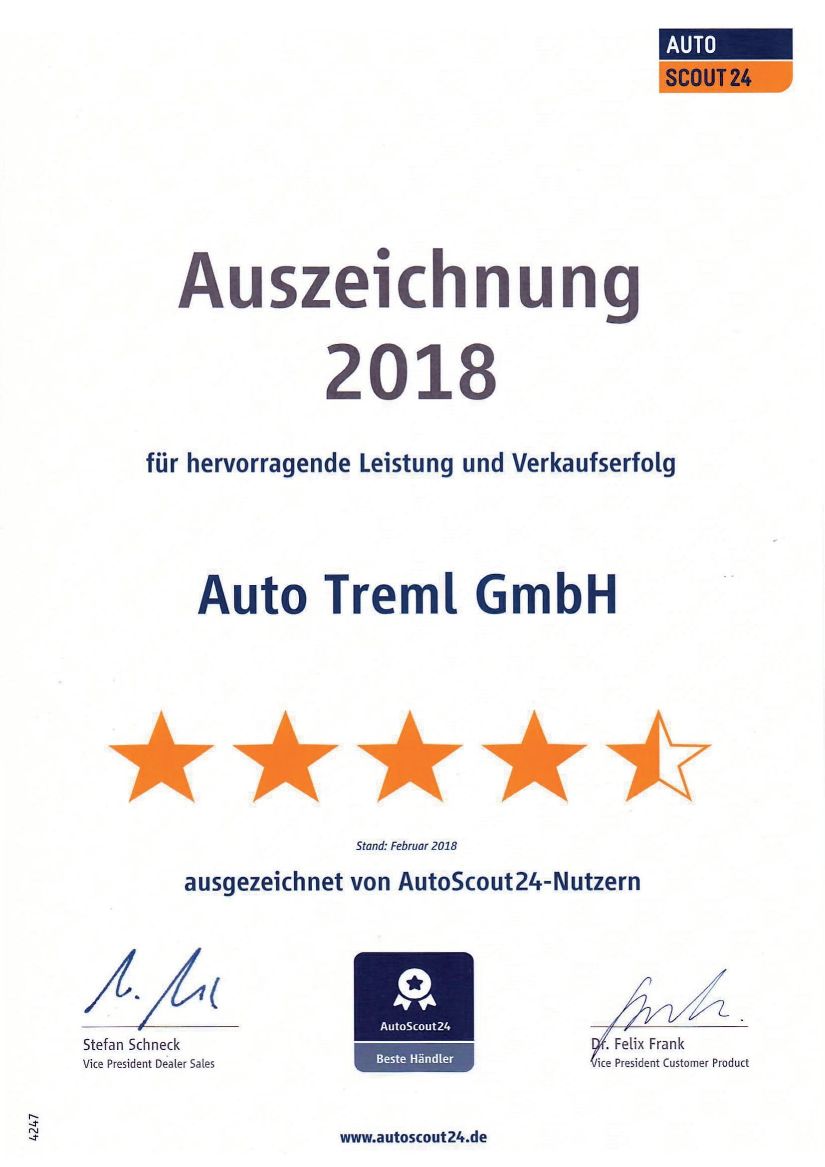 Auszeichnung Auto Treml GmbH autoscout24-Nutzer 2018