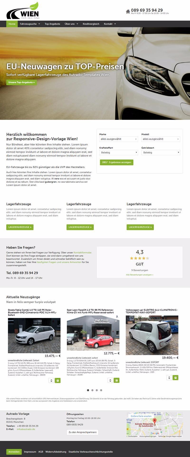 Designvorlage Wien mit virtuellem Showroom