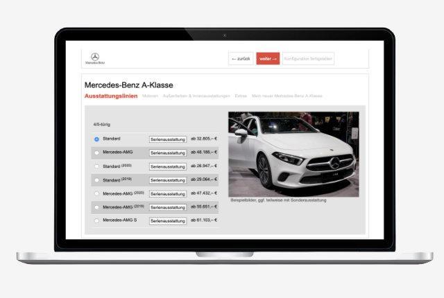 Autohaus-Website mit Fahrzeugkonfigurator für Bestellfahrzeuge