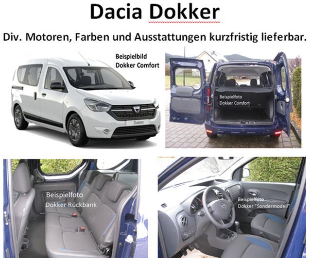 Vorlauffahrzeug Dacia Dokker - Comfort TCe 130, Sitzheizung, Dachreling, Einparkhilfe, Ersatzrad, Klima, Nebel, Radio...