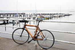 Fahrradschloß massives Stahlseil mit Hanf umwickelt mit braunen Echtleder-Applikationen., Beispielbilder, ggf. teilweise mit Sonderausstattung
