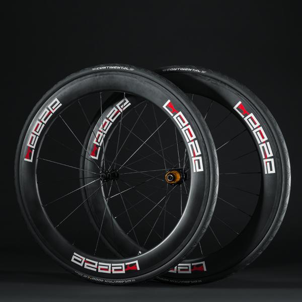 Leeze Carbon Rennrad-Laufradsätze für Drahtreifen (Clincher) - CC 60 - mit Continental Grand Prix 4000 S II