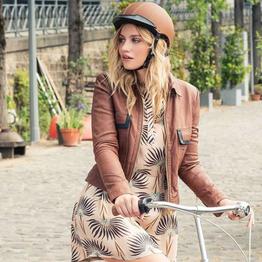 EGIDE Fahrradhelm ATLAS in Farbe Mokka - mit wasserfesten und uv-beständigem Leder überogen., Beispielbilder, ggf. teilweise mit Sonderausstattung
