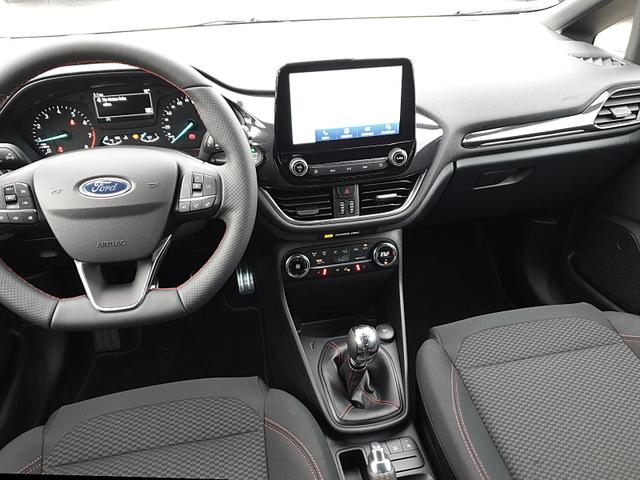 Fiesta 1.0 95PS EcoBoost ST-Line 5-türig Klim Klimaautomatik Ford-Navi SYNC 3 DAB+ Bluetooth 8''-Touchscreen Apple Carplay Android Auto Sitzheizung Lenkradheizung Frontscheibe beheizb. PDC