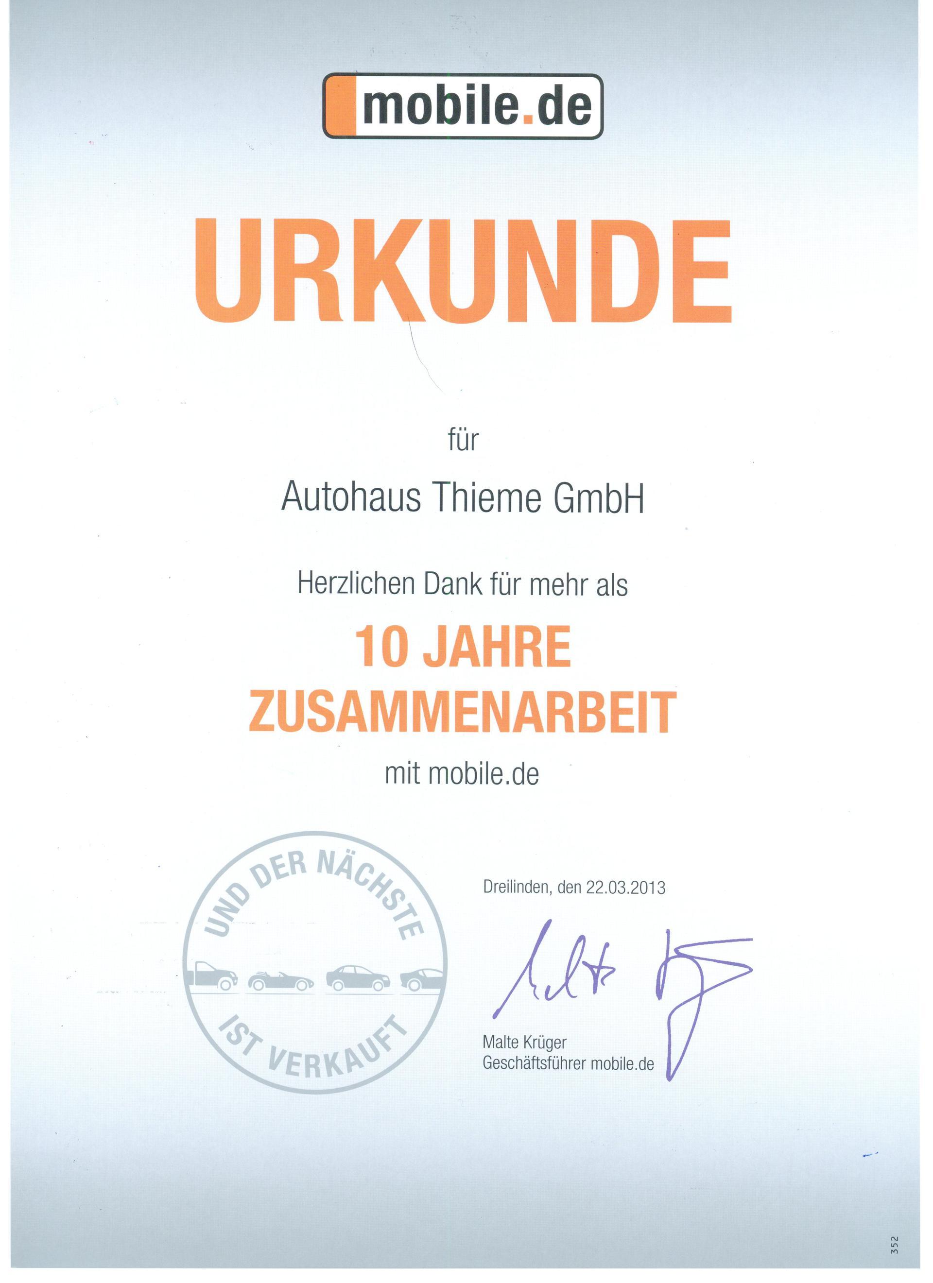 10 Jahre Zusammenarbeit Mit Mobilede Blog Auto Thieme