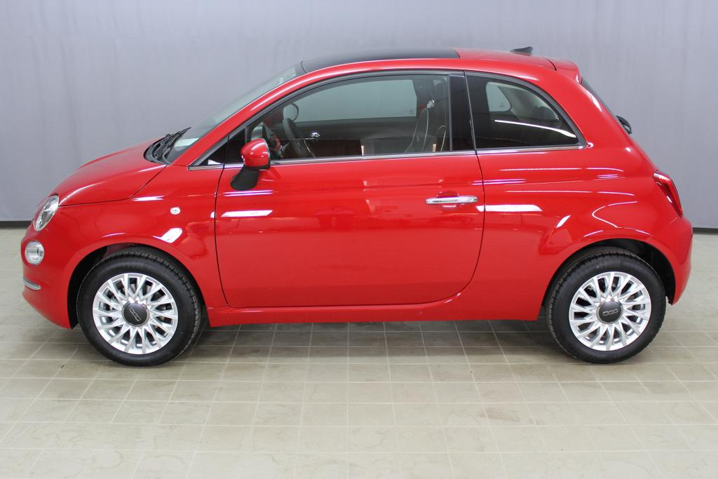 Fiat 500 Lounge, 111 Passione Rot, 301 Stoff Prince of Wales Schwarz/Grau, Akzent Weiß, Ambiente Schwarz,