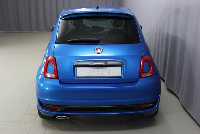 Fiat 500S 1,2 SPORT 69 PS, 425 Italia Blau, 724 Sport Stoff-/Lederfarbe, Ambiente Schwarz, Farbe Türeinsatz Weiß, 06P,140,195,339,396,4GF,4MJ,4VU,5A6,61P,626,6CQ,6HQ,7HZ,856,890,8H7,RSW