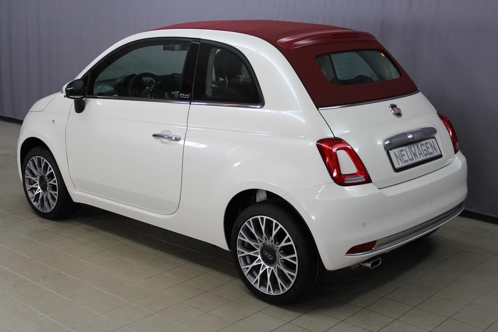 1274 Fiat  500 Cabrio 1,2 8V S&S  Lounge 51kW 69 PSBank11 14.12. 3 Mon. keine ZinsenEuro 6 AG Euro6dtemp227 Ghiaccio Weiß Dreischicht458 Leder  Poltrona FRAU Schwarz/Elenbein / Ambiente schwarz / Farbe Türeinsatz schwarz / Dach Rot