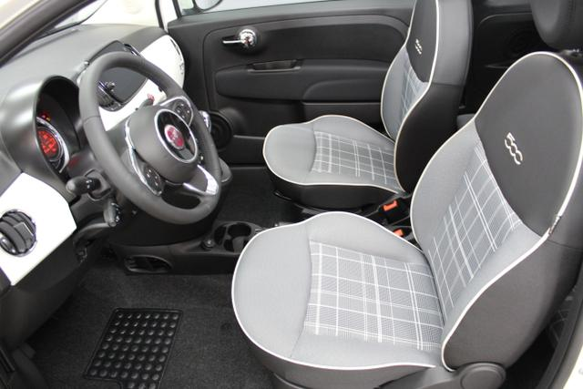 10180 Fiat 500C-1.2 8V Lounge 51kW (69PS) E6D  / 407 DualogicGelato Weiß (268)Stoff Prince of Wales Schwarz/Grau, Akzent Weiß, Ambiente Schwarz (127)Schwarz