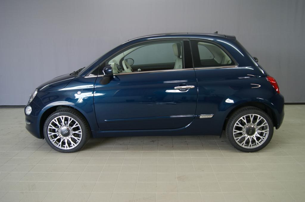 Nr 187 518515 FIAT 500 1.2 8v Lounge Plus 687 Dipinto di blu Blau Metallic 374-Stoff Prince of Wales Schwarz/Weiß mit Akzenten in Elfenbein