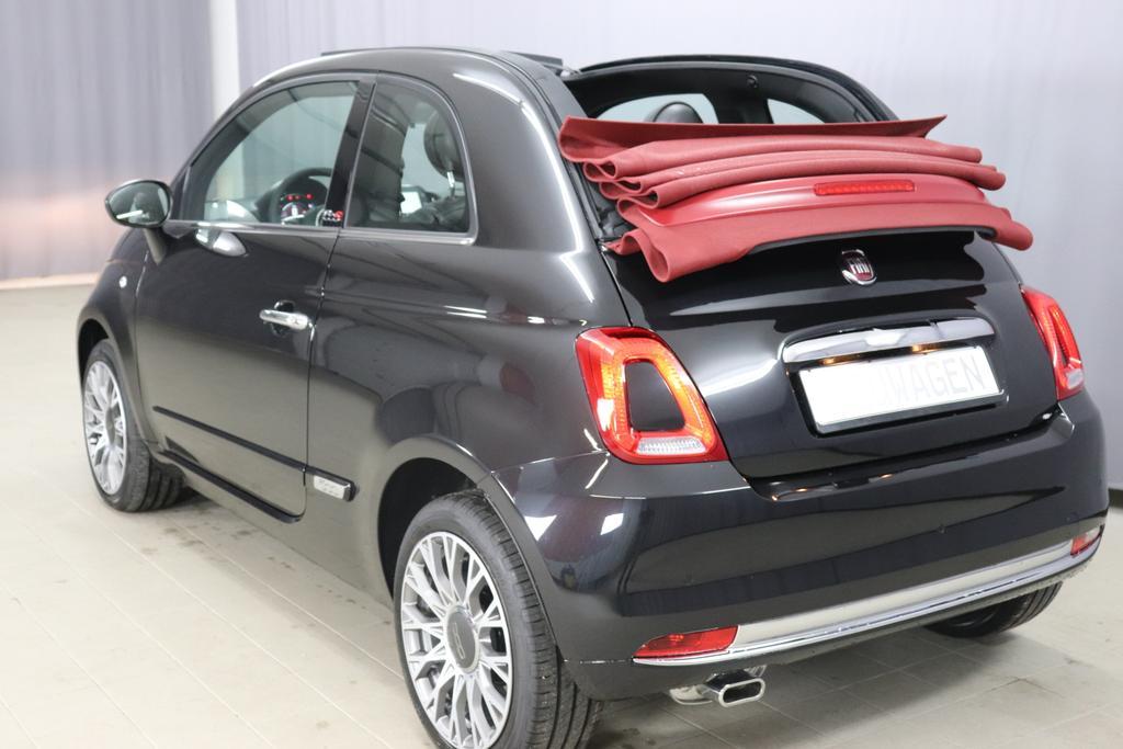 Fiat 500C 1,2 8V S&S Star 51kW 69 PS Vesuvio Schwarz 458 Leder Poltona Frau schwarz mit Einsatz Elfenbein Ambiente Schwarz Farbe Türeinsatz schwarz Bordeax Martt Verdeck rot