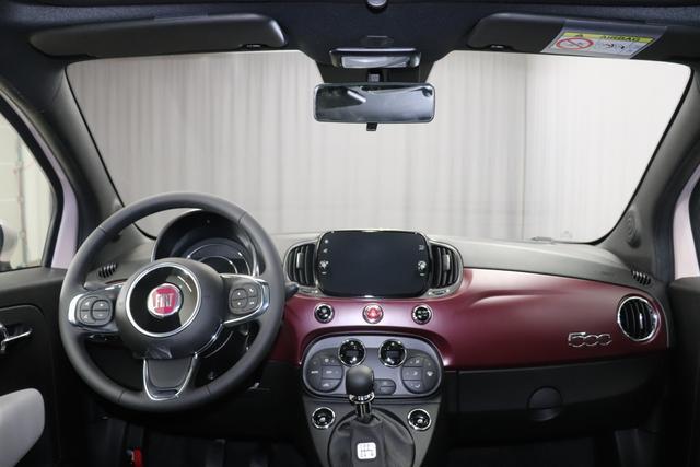 """Fiat 500 1,2 8V S&S Star 51kW 69 PS494 Stella Weiß""""042 Stoff """"Star"""" mit Einsätzen aus Vinyl Schwarz mit Einsatz Weiß Ambiente schwarz Farbe Türeinsatz schwarz Farbe Armaturenbrett Bordeaux Matt"""""""