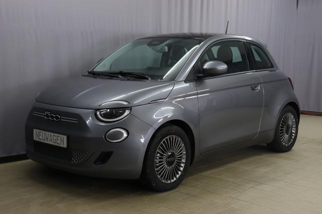 Fiat Neuer 500 - Icon Co-Driver Paket: Autonomes Fahren Level 2, 360°-Drone View Parksensoren, Totwinkel Assistent, HD Rückfahrkamera, Audiosystem mit 6 Lautsprechern, Elektr verstell-und beheizbare Außenspiegel, Winter Vordersitze; Auflagefläche der Fron