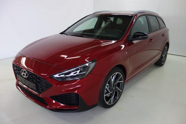 Hyundai i30 Kombi - N Line Sie sparen 6.500 Euro 1.5 T-GDI 48V-Hybrid 6-Gang iMT 117 kW, Navigationssystem, Rückfahrkamera, Smart-Key, Spurfolgeassistent, e-Call (Notrufsystem), 18 Zoll Leichtmetallfelgen, Fernlichtassistent, LED-Abblendlicht, Dachreling uvm