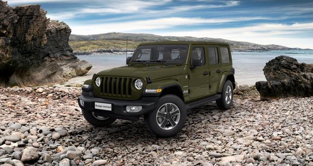 Vorlauffahrzeug Jeep Wrangler - Unlimited Sahara JL UVP 66.200,00 Euro 2.0 l T-GD DSG, 3D Navigation, Differentialsperre (mechanisch) für die Hinterachse, Dachhimmel mit zusätzlicher Geräuschdämmung, Alarmanlage uvm