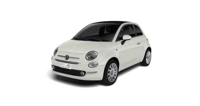 """Lagerfahrzeug Fiat 500C - Dolcevita UVP 22.410,00 Euro 1,0 Hybrid Uconnect™ Navigationssystem, MJ 2021 , Apple CarPlay, 16""""-Leichtmetallfelgen LED-Tagfahrlicht, Nebelscheinwerfer City Paket; Licht und Regensensor, PDC hinten uvm."""
