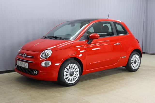 Fiat 500 Lounge Sie sparen 5.210 Euro 1.0 GSE N3 BSG Hybrid 6GANG, SkyDome: Schiebe-Hebedach aus Glas, Navigationssystem, Klimaautomatik, City PAKET: Licht und Regensensor Parksensoren hinten, Nebelscheinwerfer, Seitenschutzleisten in Wagenfarbe inklusive Badges, Radio D