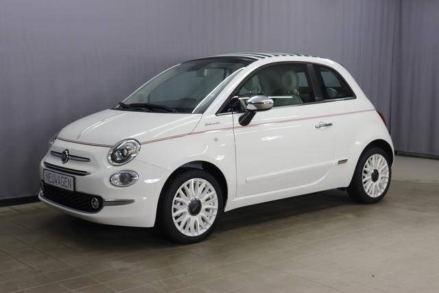 """Fiat 500C Hybrid Dolcevita Sie sparen 5.470,00 Euro 1,0 Verdeck Blau/Weiß, Leder, Uconnect™ Navigationssystem, MJ 2021 , Apple CarPlay, 16""""-Leichtmetallfelgen, LED-Tagfahrlicht, Nebelscheinwerfer City Paket; Licht und Regensensor, PDC hinten uvm."""