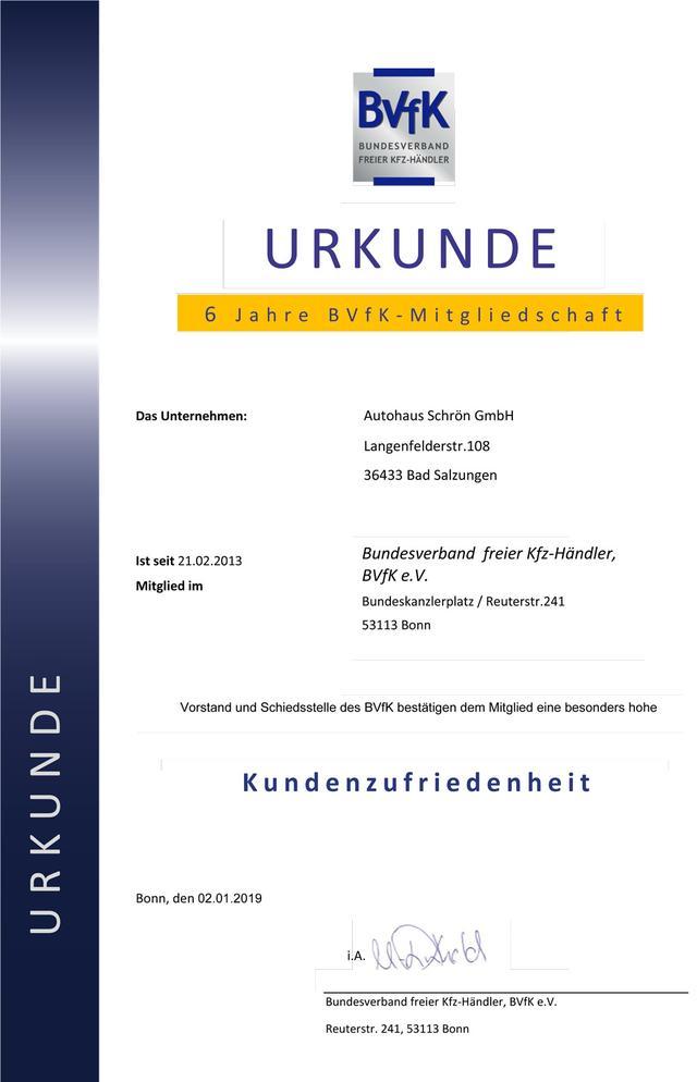 6 Jahre BVfK - Mitgliedschaft
