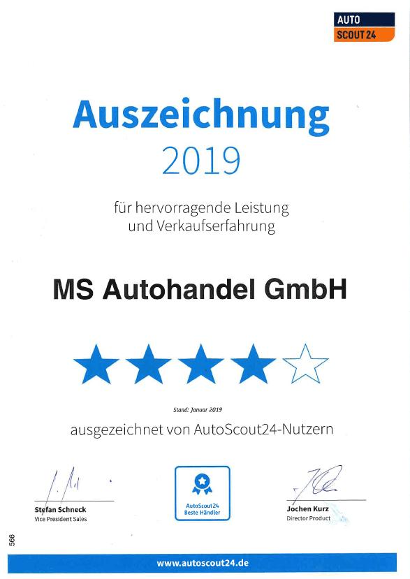 Auszeichnung von AutoScout 2019